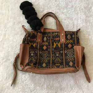 Nena & Co Convertible Day Bag with Pom Tan Black